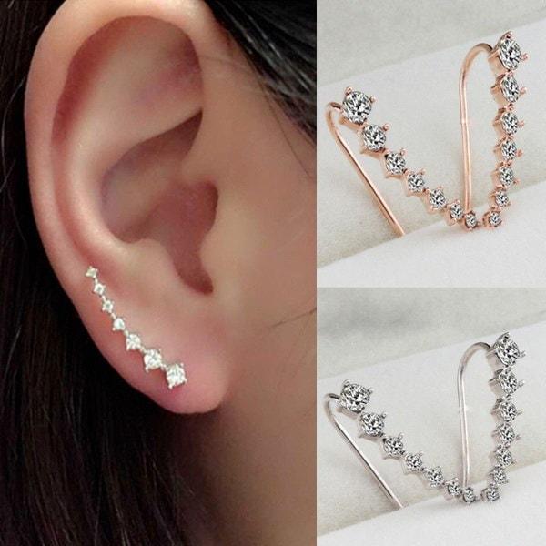 ファッション女性のラインストーンクリスタルイヤリング耳フックスタッドジュエリーギフト