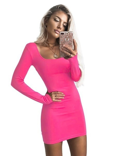 Fall Bottoming Women Solid Color  Dress Long Sleeve O-Neck Low Cut Bodycon Femme Sexy Robe Package H