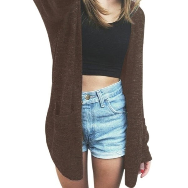 ファッション女性長袖セーターニットカーディガンルースポケットセーターアウトレットジャケットコート