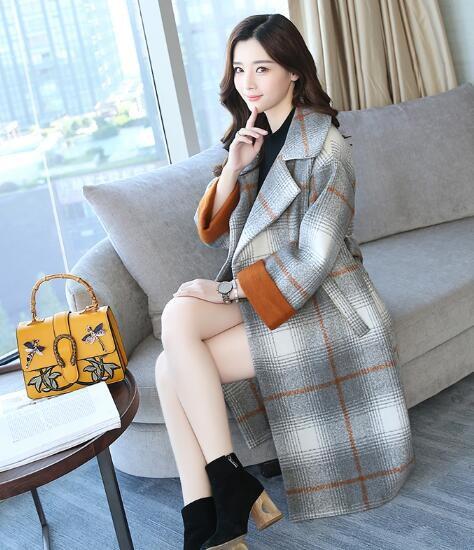 コート 長袖 グレンチェックトレンチコート レディース 大判ストール 韓国ファッション 大きいサイズ 秋ファッション