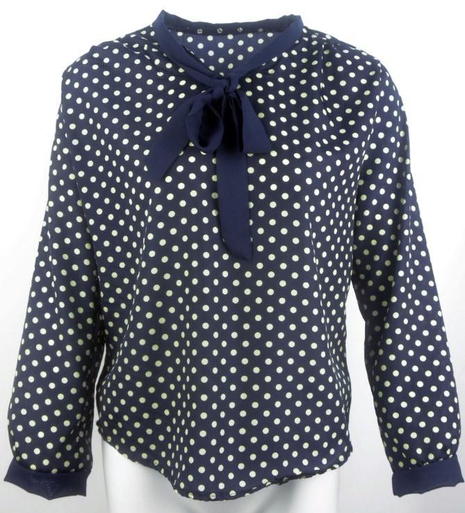 2015年夏のファッション女性スエーテロングスリーブシフォンちょう結びのシャツホットセールカジュアルOネックドットブラウス