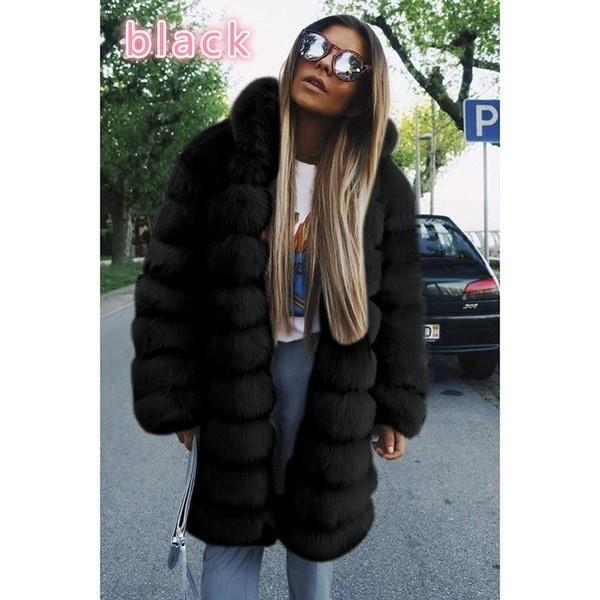 ファッション女性のウィンターコートフェイクファーコートエレガントな厚いウォームアウターウェアフェイクファージャケットフード付きコート