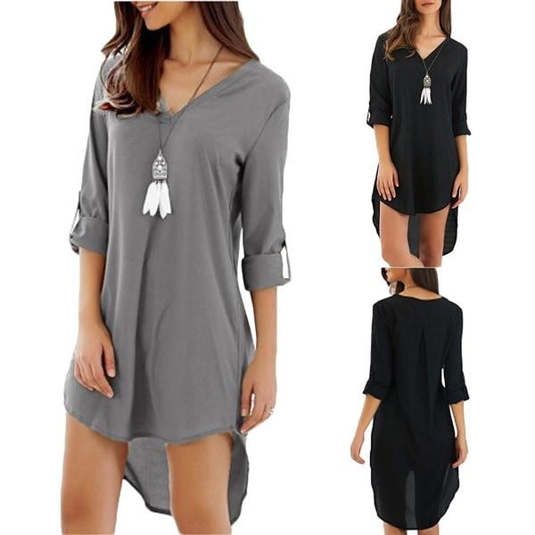 女性のルーズ不規則な裾Tシャツ非対称Vネックロングセリーブカジュアルなアウトドレス
