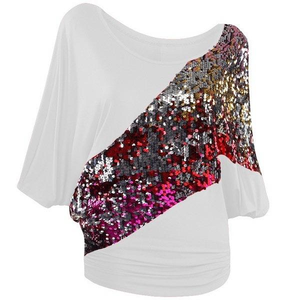 女性の服プラスサイズルーズバットTシャツセクシーなOネックスパンコールソリッドショートスリーブトップ