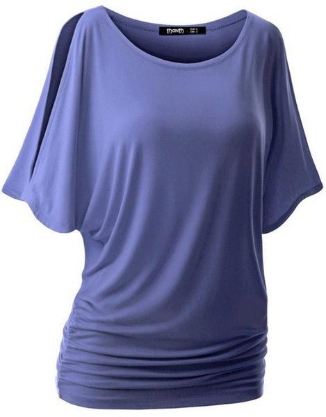 夏の女性10色バットスリーブTシャツルースソリッドカラーラウンドネック半袖トップスレディースファッション