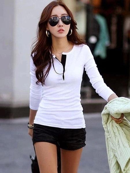 韓国ファッション女性スリムシフォントップスロングスリーブシャツカジュアルブラウスTシャツ