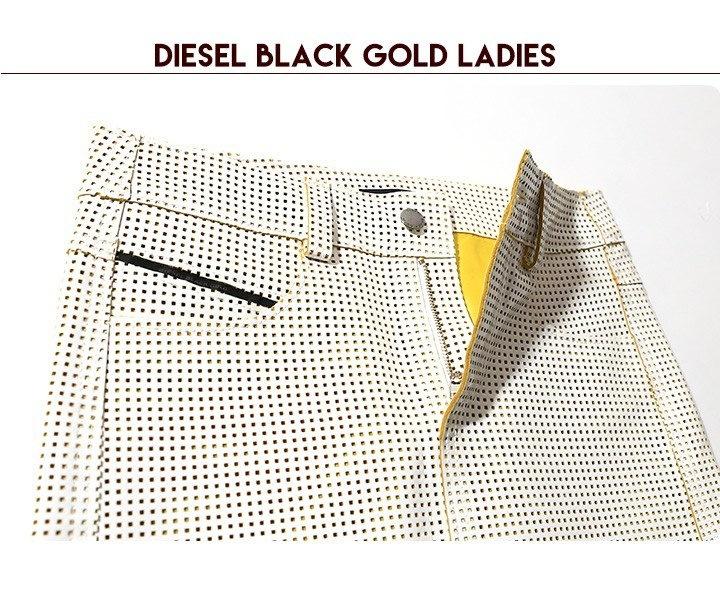 ディーゼルブラックゴールド DIESEL BLACK GOLD スカート レディース 牛革 エナメル レザー スクエア パンチング メッシュ ミニ丈 レザー OZZIE
