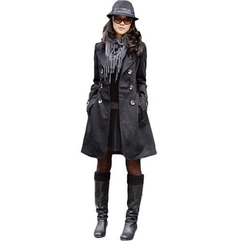 新しいファッションレディースウォームスリムフィットトレンチダブルブレストコートジャケットアウトソールYSH