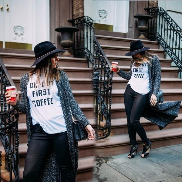 レタープリント半袖OネックレディースTシャツトップ女の子用OKでもファーストコーヒーXYY