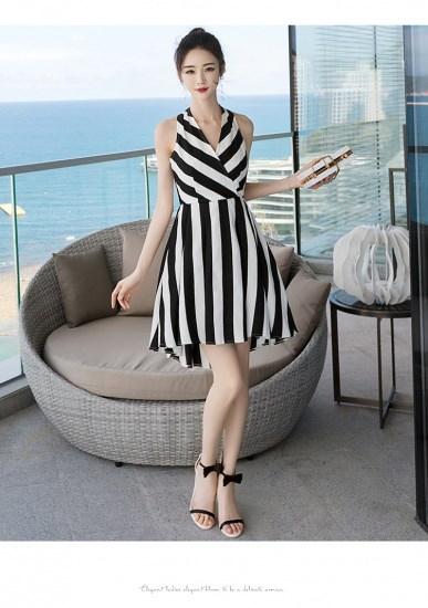 とってもクールなストライプのワンピースドレス☆サマードレス バカンス リゾート お出かけ 0086