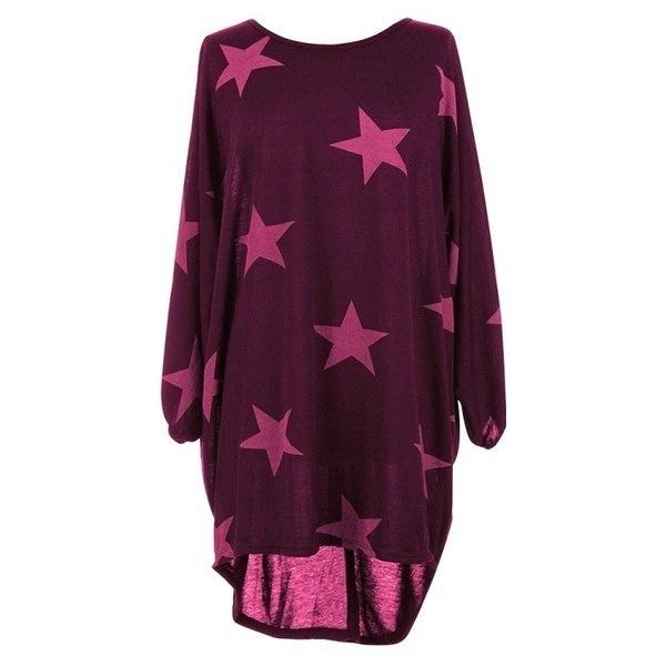 レディースカジュアルルーズトップスBatwingスタープリントファインニットバギーチュニック女性Tシャツ衣類