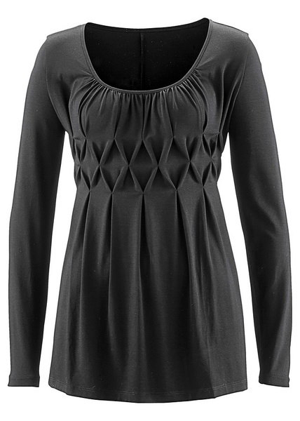 Solid Color Fashion Women Pleated Cotton Long Sleeve Blouse S~5XL