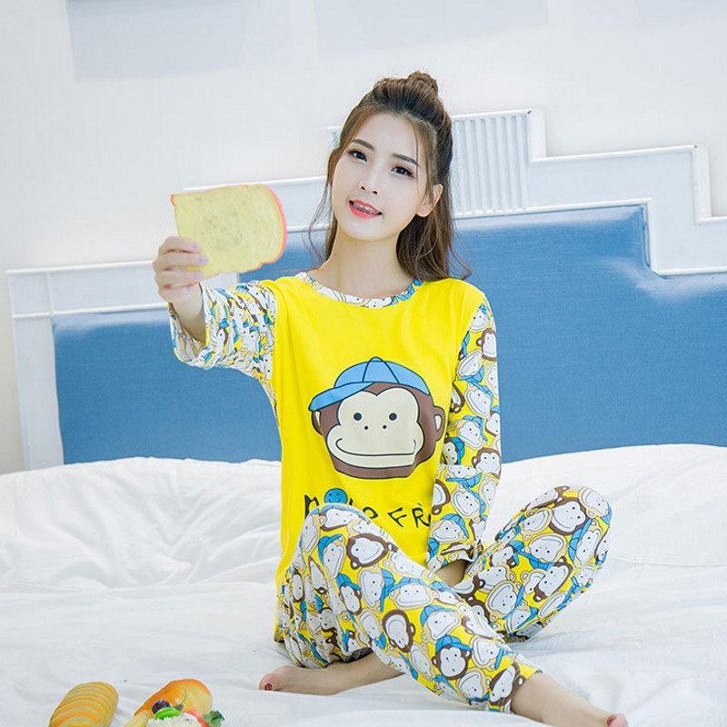 新しい女性の長袖スリープパジャマセット女性のナイトウェアレディロングパンツの漫画かわいいティーンエイジャーなパジャマ