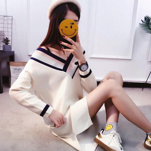 配色Vネック秋ロングニットティーワンピースデイリールックkorea women fashion style
