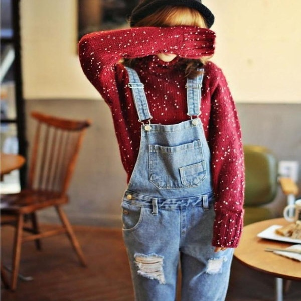 Streetwear HolesルーズデニムオーバーオールRompers Womens JumpsuitカジュアルガールズLong Suspenders Jeans La