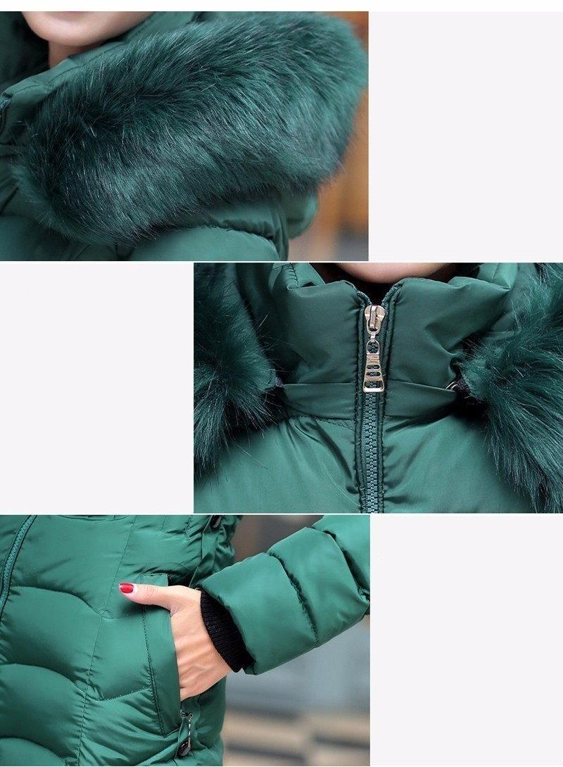 2016レディースロング冬のダウンジャケットコットンスリムオーバーコートファーフード付きエレガントカジュアルロングスリーブ女性コートパークビッグプラスサイズ3XL