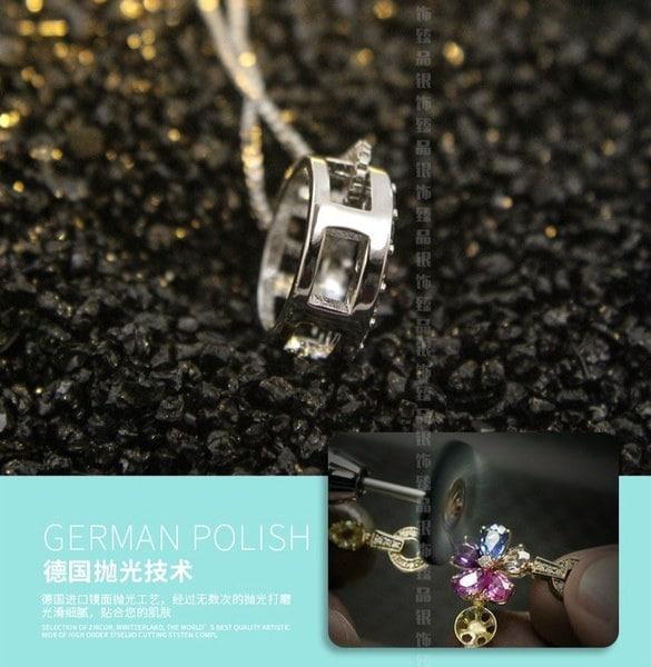 ファッション女性の925スターリングシルバー+トップジルコンクリスタル宝石ダイヤモンドペンダントネックレスギフト