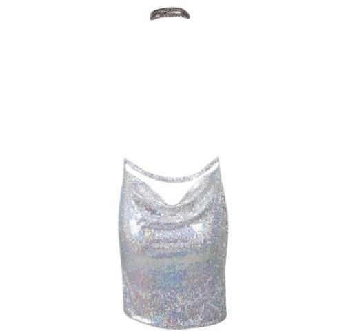 セクシーな女性レディースチョーカーホルターネックバックレスケンダルスパンコールドレスイブニングパーティーミニクラブドレス