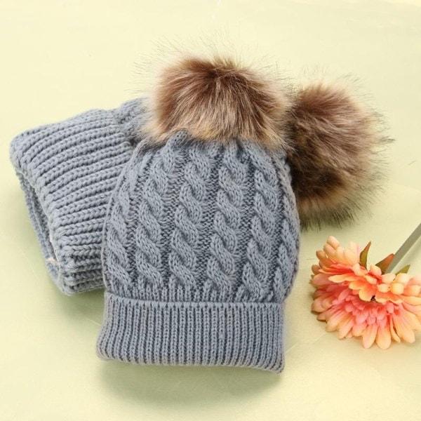 ママとベビー冬暖かいニットのビーニー毛皮の帽子