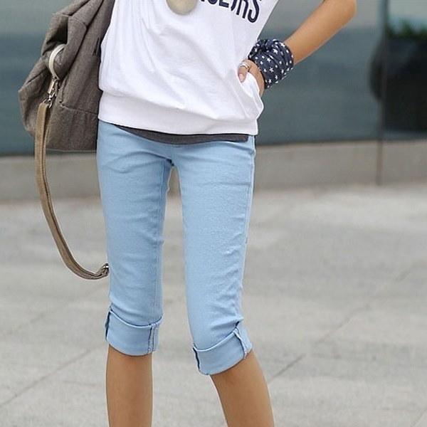 ファッション夏韓国のスリム弾性コットンカプリスショートパンツズボン