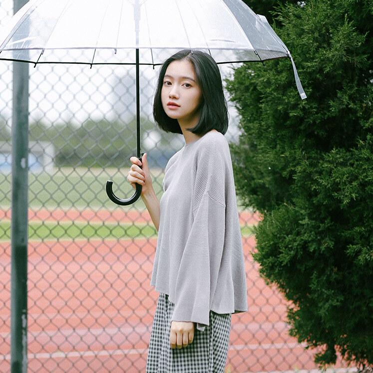 [55555 SHOP]新色追加♪体型カバーになる☆ワイドスリーブリブ編みニット/[レディース][Tシャツ・ワンピース・サロペット・スカート・ガウチョパンツ・デニム・セットアップ・リュック・韓国ファッション・秋物]