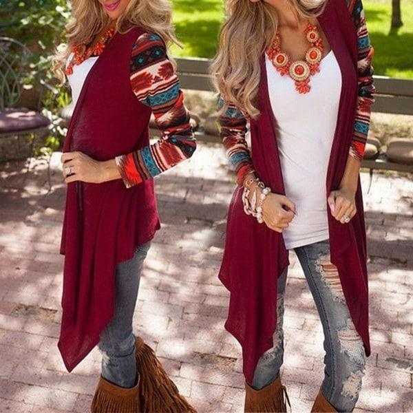 HOENレディースファッション秋の春ロングスリーブスプライシングカーディガンルーズコート