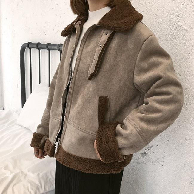 フェイクムートン ボアジャケット レディース 2way襟 グレージュ イエロー おしゃれ 冬 ショート丈ムートンコート アウター 厚手 裏ボア もこもこ 暖かい あったか 防寒着 トップス