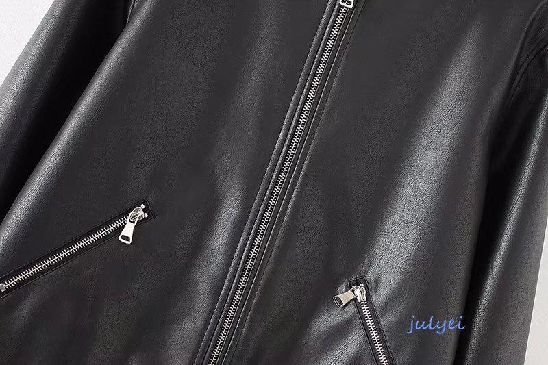 欧米風レザージャケット 両側のジッパー ライダースジャケット ブルゾン PUジャケットレディース  皮ジャン 革ジャン ブラック