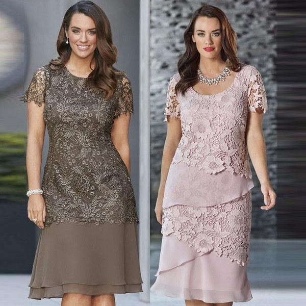 2017最新の2色ファッション女性夏の半袖レースパーティードレスマルチレイヤーマキシドレス