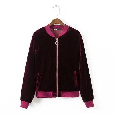 秋新品ゴールドベルベットゆったり着やせジャケット 金属リングジッパー長袖ショートジャケット レディース アウター コート