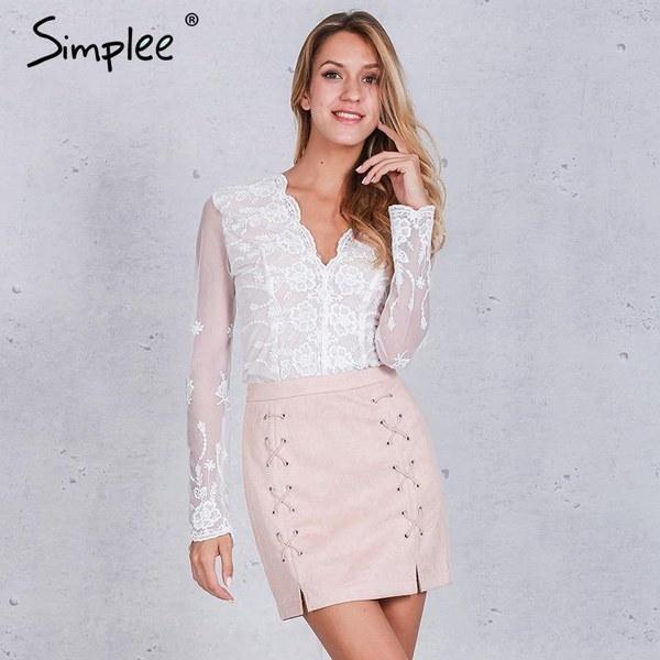 ファッション女性ハイウエストレースアップボディコンスエードレザーポケットプレッピーショートミニペンシルスカート