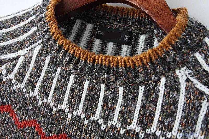 秋冬定番で使える  ニット レディース レトロ 長袖 レディース 配色ニット  幾何学 着やせ ニット ニットウェア