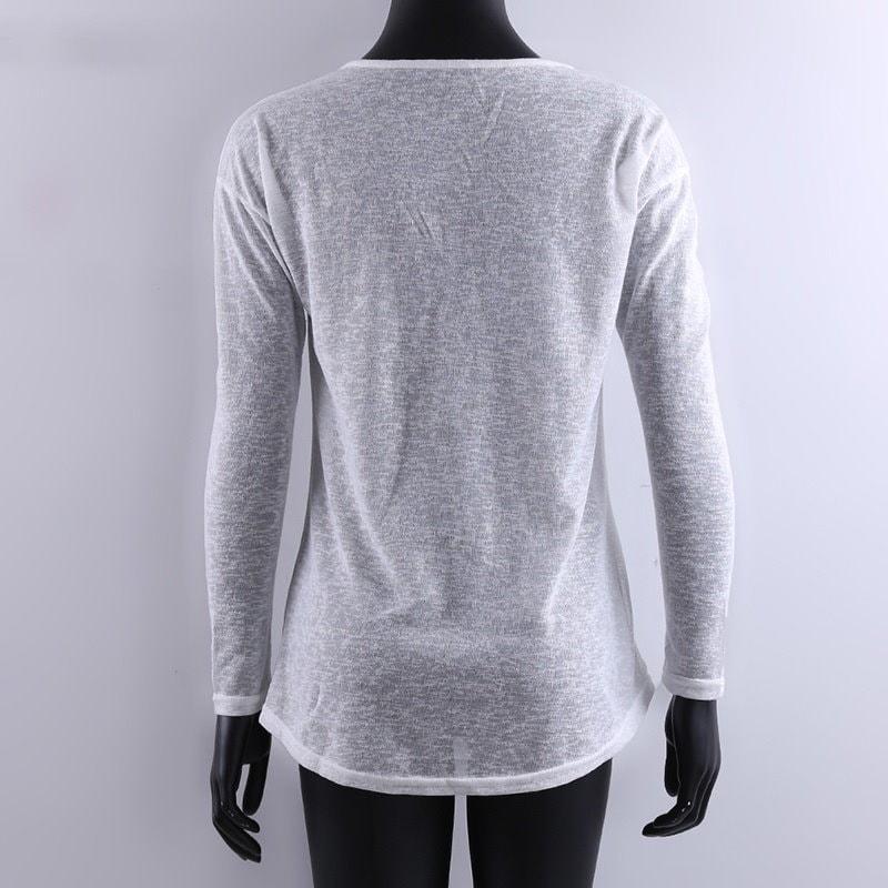 2017新しい秋の女性ファッションブラウスロングスリーブVネックカジュアルルースTシャツトップ3カラー