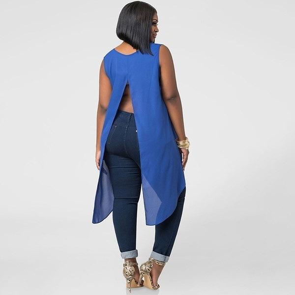 ファッションラージサイズスタイリッシュなDovetailノースリーブシャツブラウスL-XXXL
