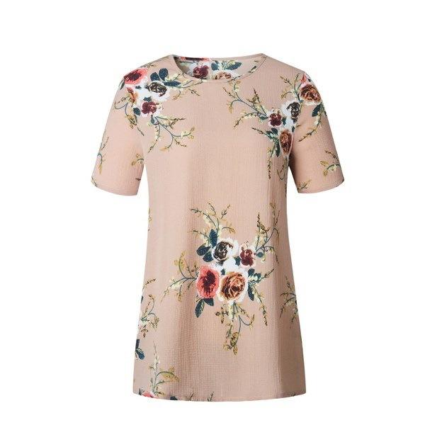 夏の女性のブラウス花の半袖レディースシフォンルーズカジュアルTシャツトップス