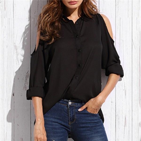 TWUUALIANセクシーな女性の純粋なストラップレスシフォンシャツのスリーブルーズシャツファッショントップス