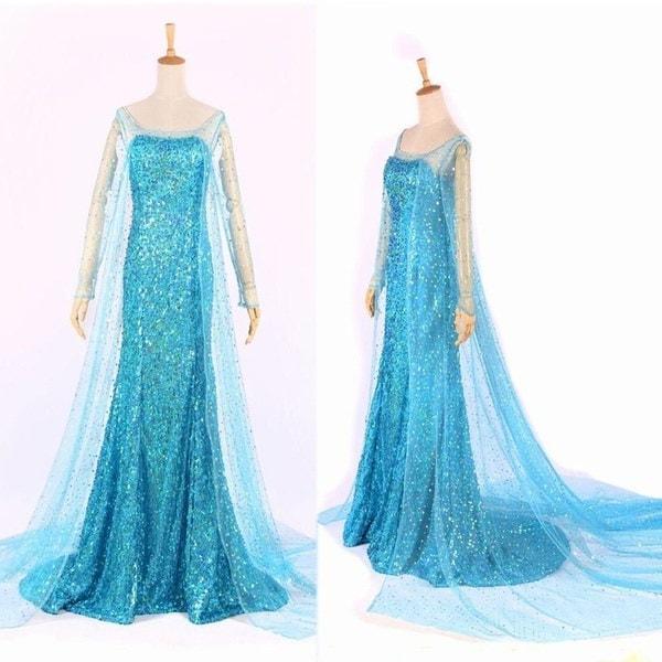 熱い青色の冷凍エルサクイーン大人の女性のパーティードレスコスチュームエルサのドレス