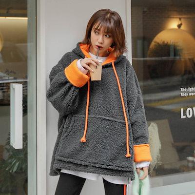 PPGIRL(韓国ファッション)♥送料 0円★PPGIRL_D649 Dumbled color hood T shirt / casual T shirt / loose fit / anorak / casual hoodie