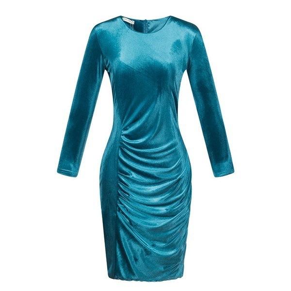 ホット!ゴールドベルベットスリムロングスリーブゴールドベルベットバッグヒップドレス