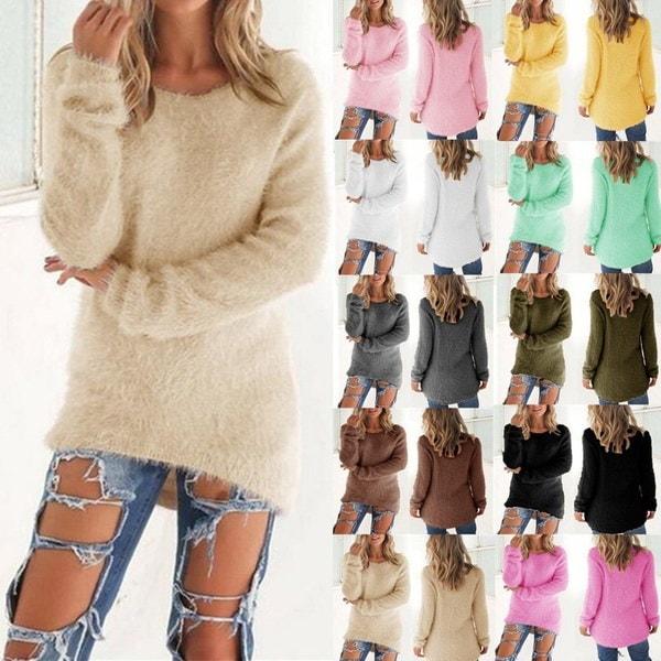 ファッション女性の秋と冬のソリッドカラーロングスリーブセーター