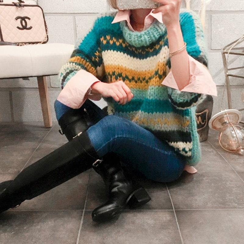 【2017 F / W新商品】韓国のファッションカジュアル通販1位★VIVARUBY★華やかなカラー感が引き立つニット/送料無料/秋にぴったり♡