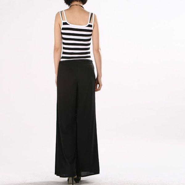 女性プラスサイズワイドレッグダンスシフォンズボン(サイズS-4XLカラー:ブラック、ホワイト)