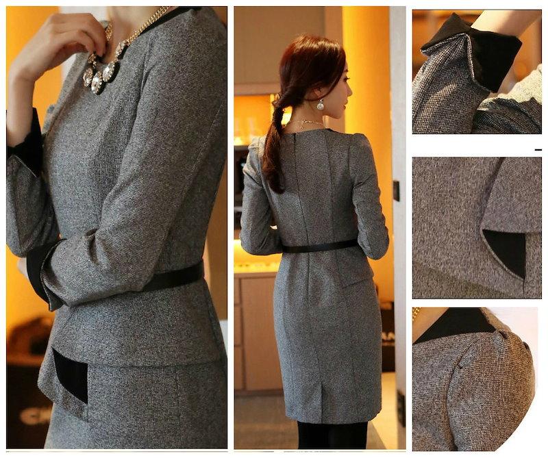 オシャレデザイン♪バイカラー ウール 長袖 スーツ ベルト付 3色 ※納期に10日から14日ほどかかります。