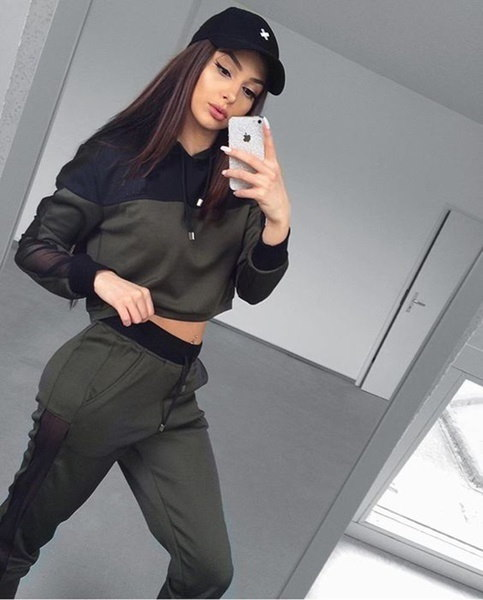 Women s Tracksuits 2 Piece Set Crop Top and Pants Fashion 2017 Autumn Casual Lady Tumblr Long Sleeve