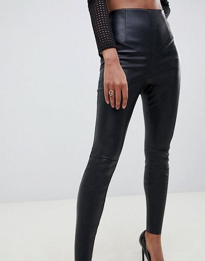 エイソス レディース カジュアルパンツ ボトムス ASOS DESIGN spray on leather look pants