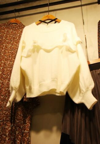 [55555SHOP]秋 秋冬 新作 ニット 長袖 バルーン袖 ゆったり 大きいサイズ  トップス レディース ニットセーター