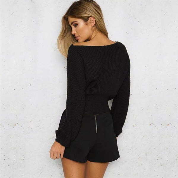 New Autumn Women Casual Slash Neck Long Sleeve Hem Bandage Causal Solid Pullover Sweater Tops