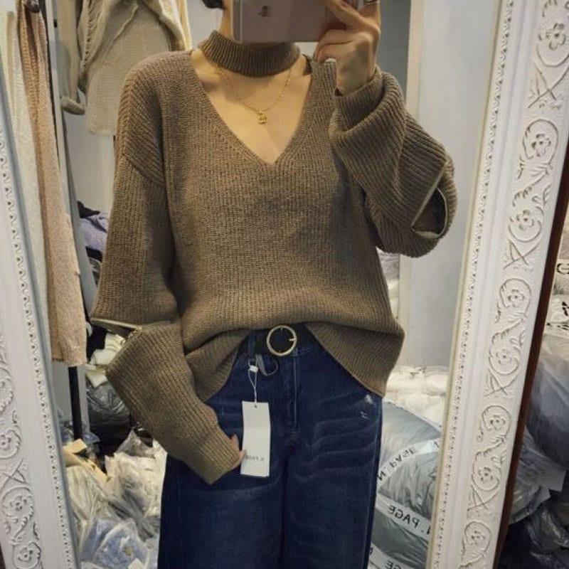 レディースセーターニットVネックセーター シンプル スリムセーター トップス セクシーニット長袖 絶対使える ショート 暖かい冬でもオシャレな可愛いセーター  防寒 伸縮性UP 首飾り