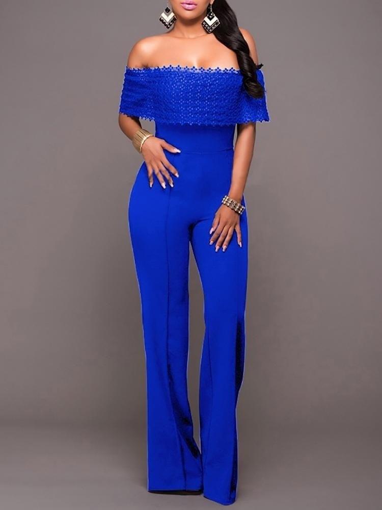 ショルダーワイドレッグパンツジャンプスーツオフ女性のジャンプスーツファッションファッション