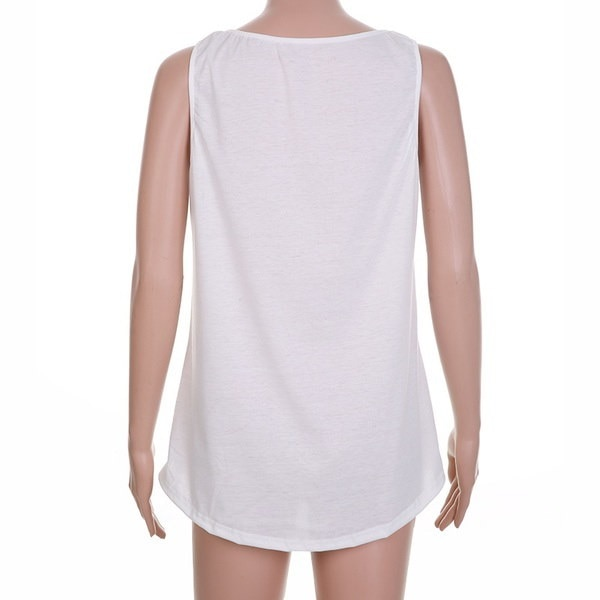 夏のファッション白のノースリーブセクシーなTシャツ女性のカジュアルな鹿プリントコットンタンクトップ